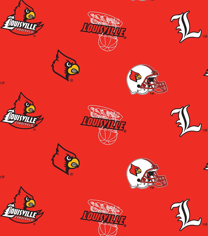 University of Louisville- NCAA Allover Fleece Print Fabric  ee8e9016a
