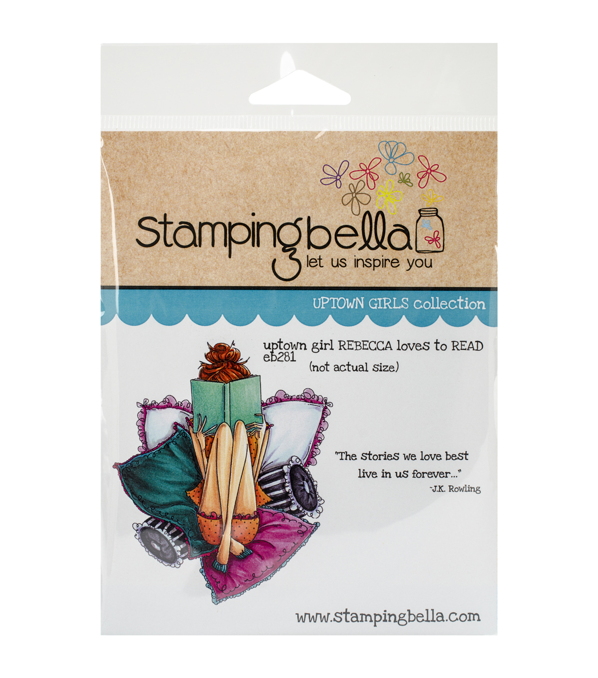 Stamping Bella Uptown Girl Rebecca Loves To Read Cling Rubber Stamp