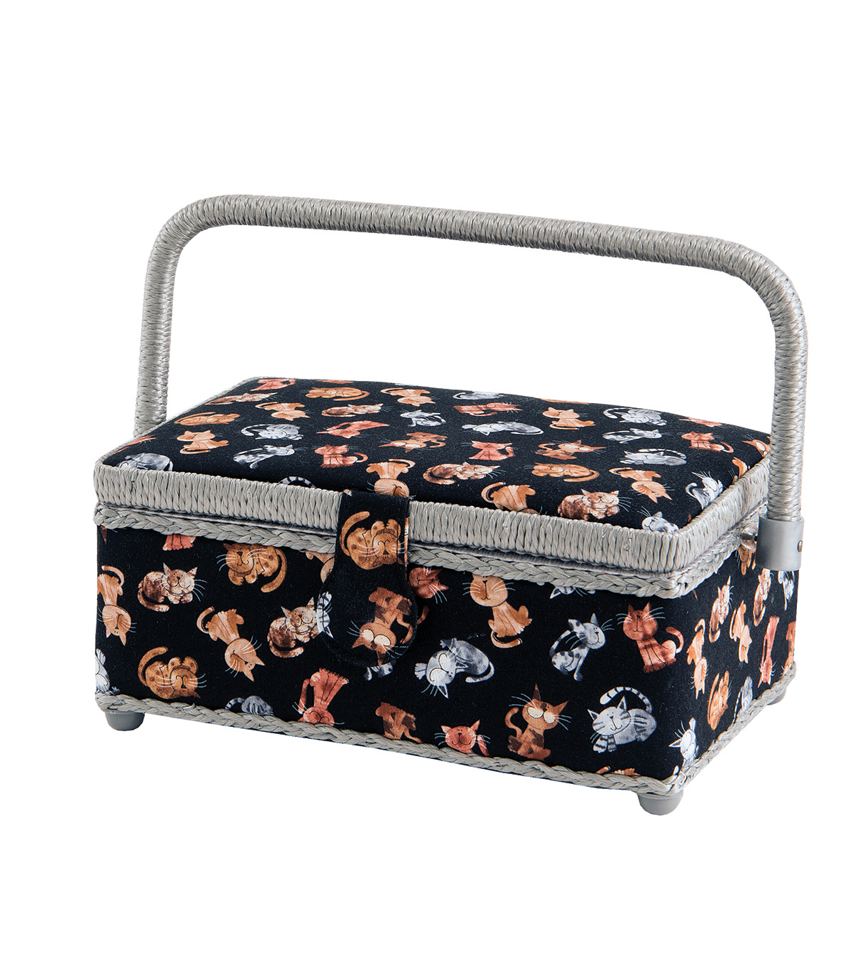 Sewing Basket Small Rectangle-Cat Black