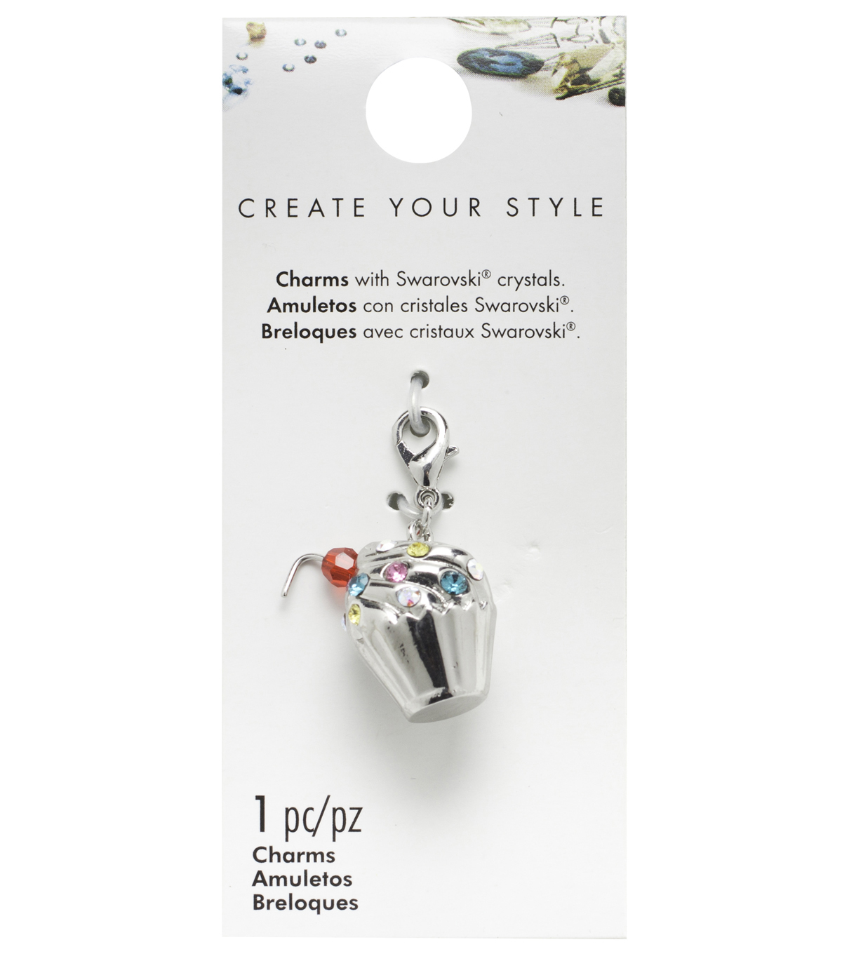 Swarovski Create Your Style Cupcake Charm-Multi Crystals
