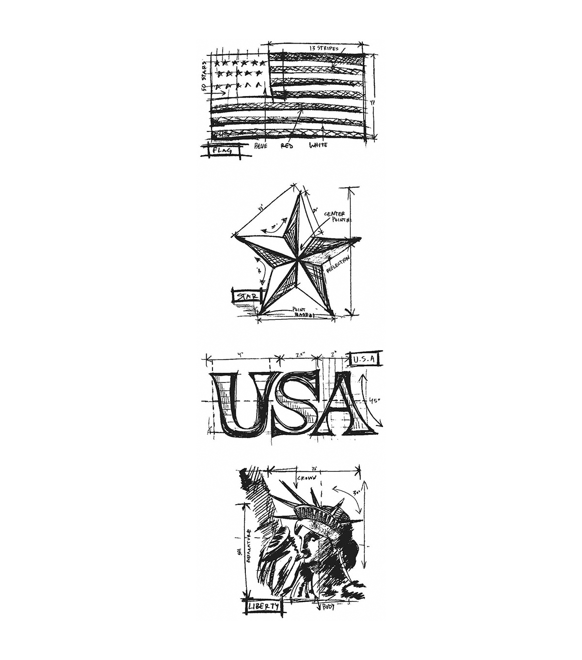 Stampers Anonymous Mini Americana Blueprints Strip Cling Stamps
