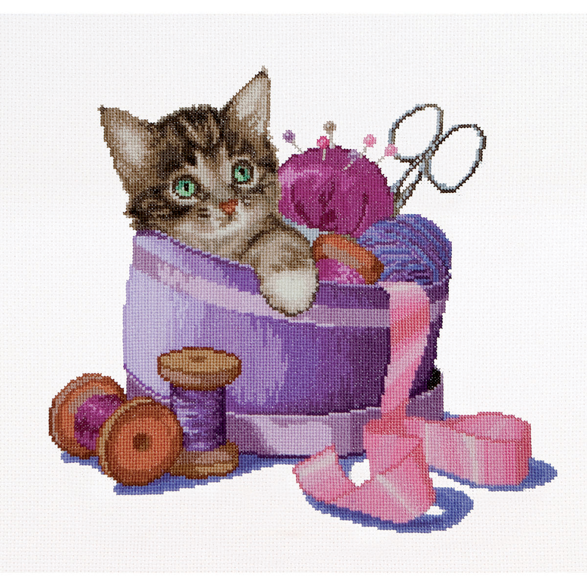 Thea Gouverneur counted-cross-stitch Kit Sewing Basket Kitten On Aida