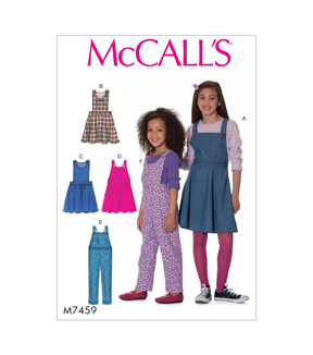 McCall\u0027s Pattern M7459 Girls\u0027 Jumpers & Overalls-Size 3-4-5-6, 3-4-5-6