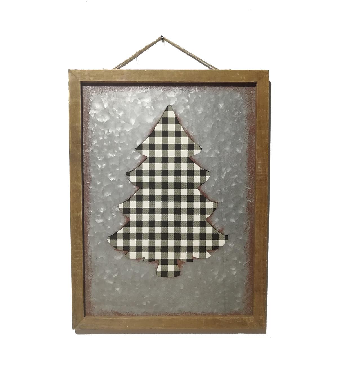 Maker U0027s Holiday Christmas Wall Decor Black White Plaid Tree