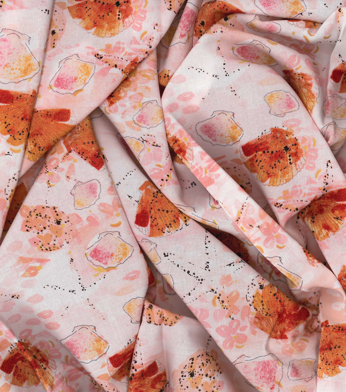 Kathy Davis Rayon Apparel Fabric -Warm Shells & Stars