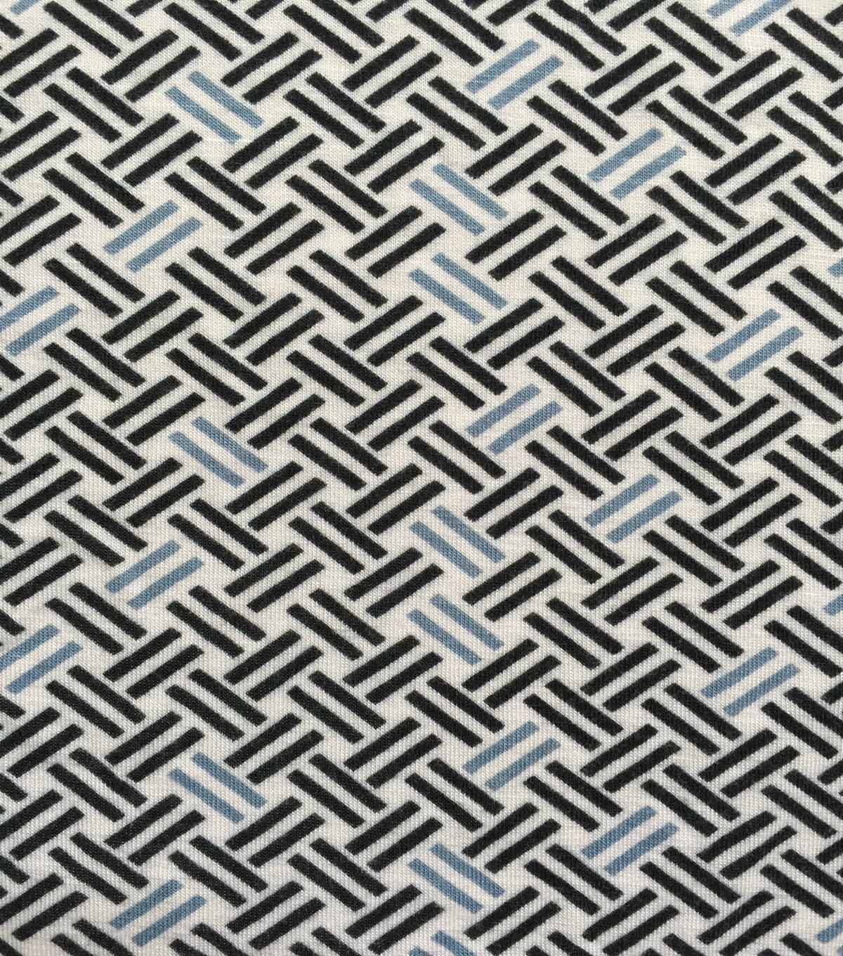 Knit Fabric 57\u0027\u0027-Gray & Black Basket Weave on White