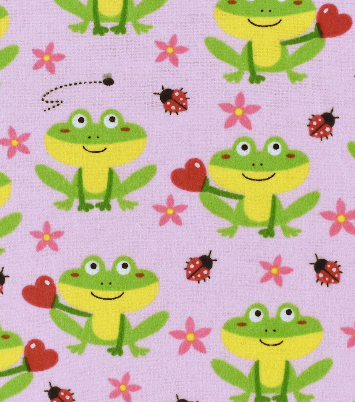 Snuggle Flannel Fabric -Sitting Froggies Pink
