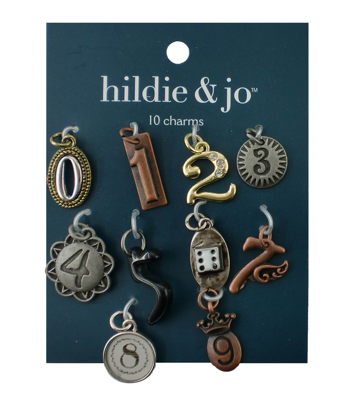 hildie & jo 10 Pack 0 thru 9 Number Charms-Multi