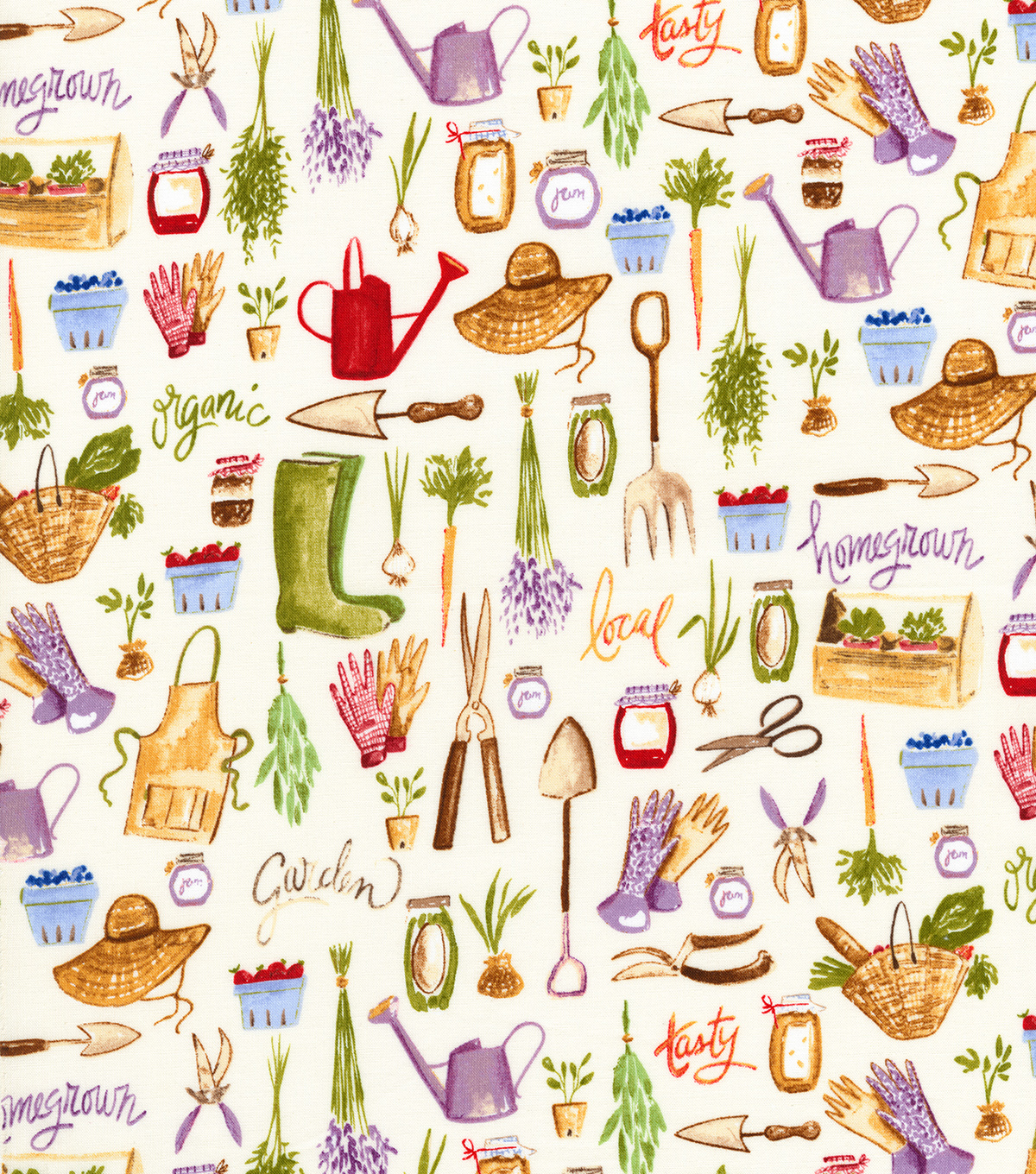 Novelty Cotton Fabric 44\u0022-Homegrown Garden