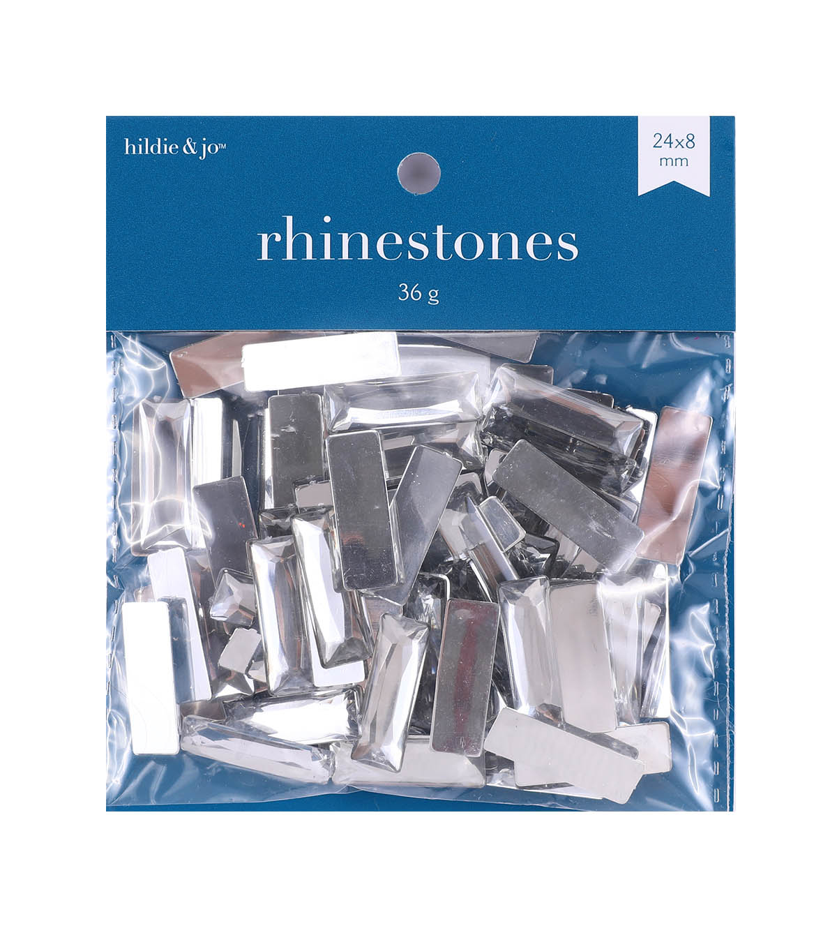 hildie & jo 75 pk Rectangle Plastic Crystal Flat Back Rhinestones