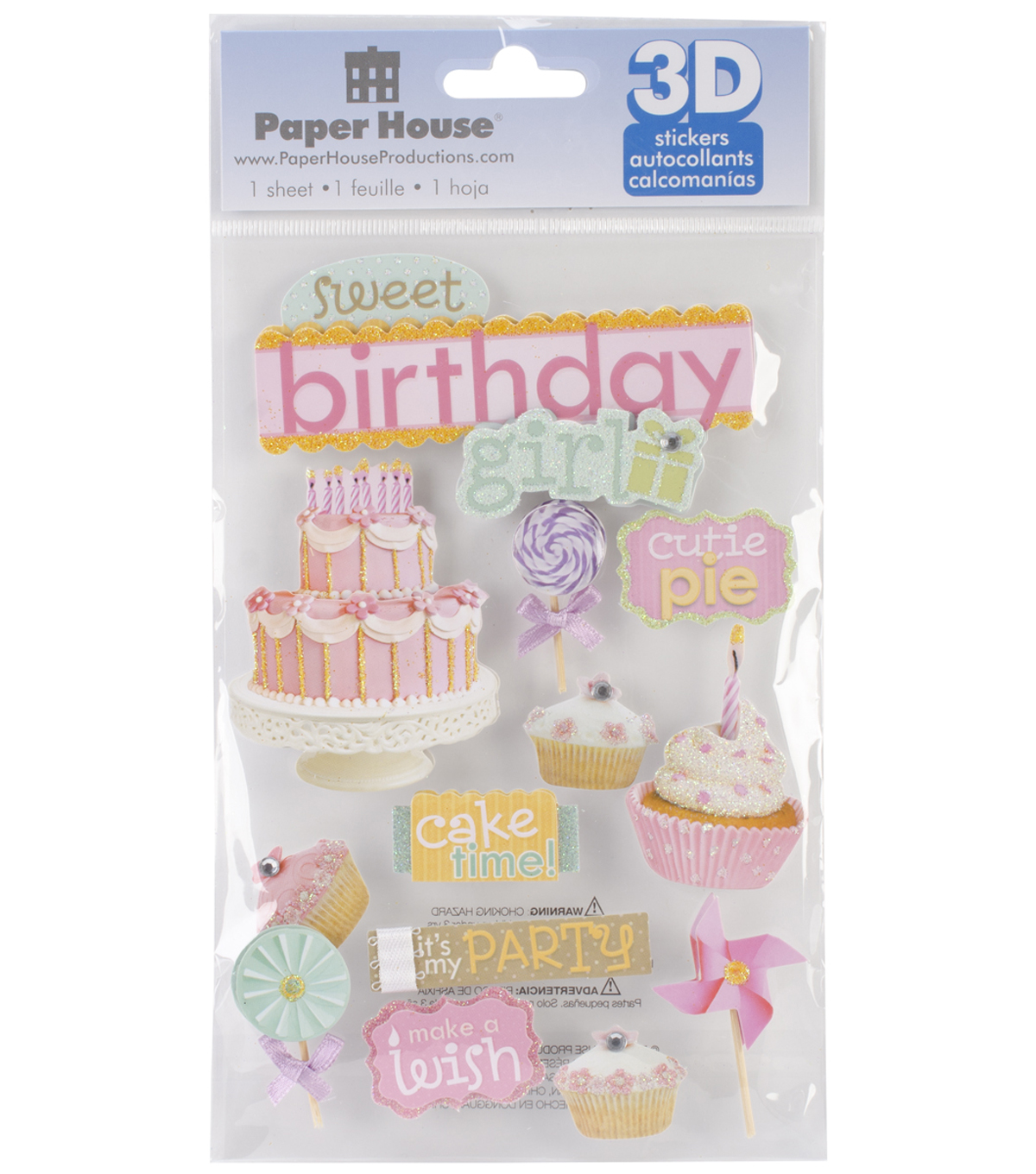 Paper House 3D Stickers-Sweet Birthday Girl