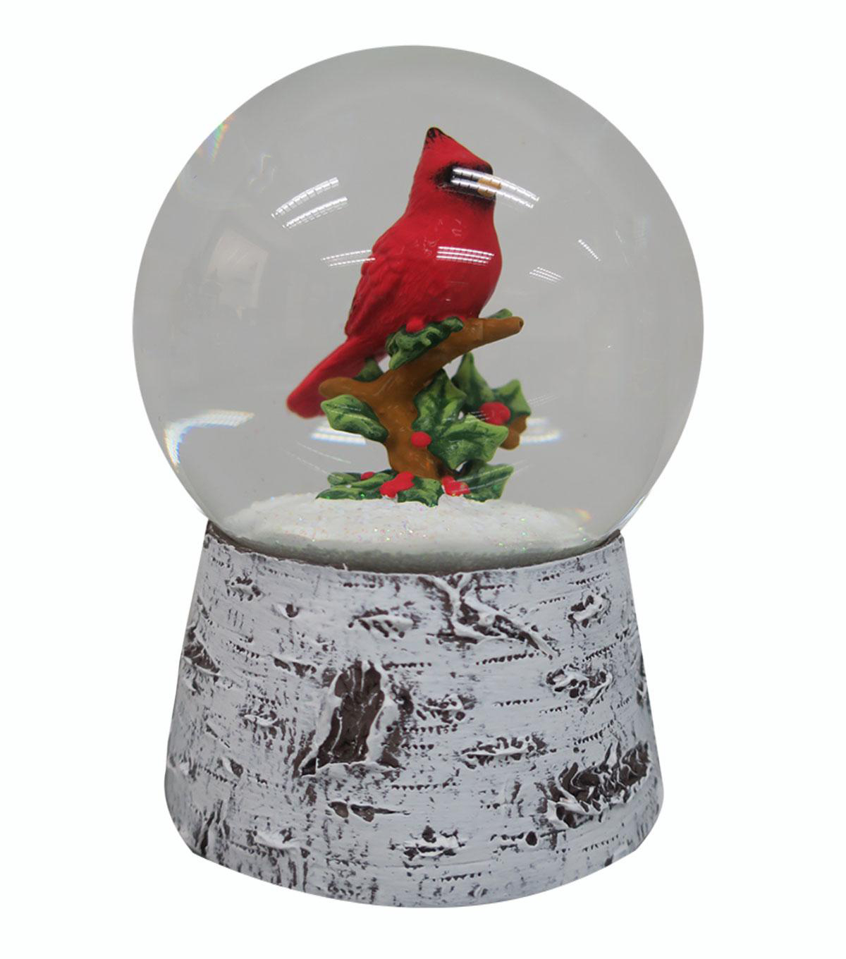 Handmade Holiday Christmas Cardinal in Water Globe Tabletop Decor