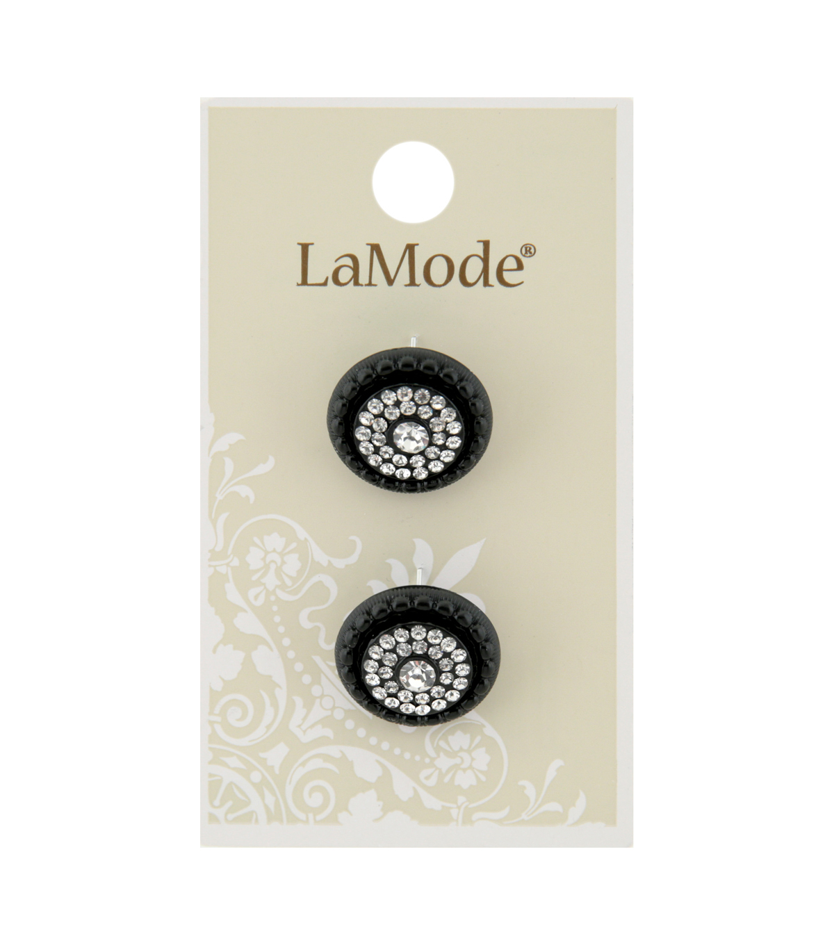 La Mode 2 pk 18 mm Black Shank Buttons with Clear Rhinestones