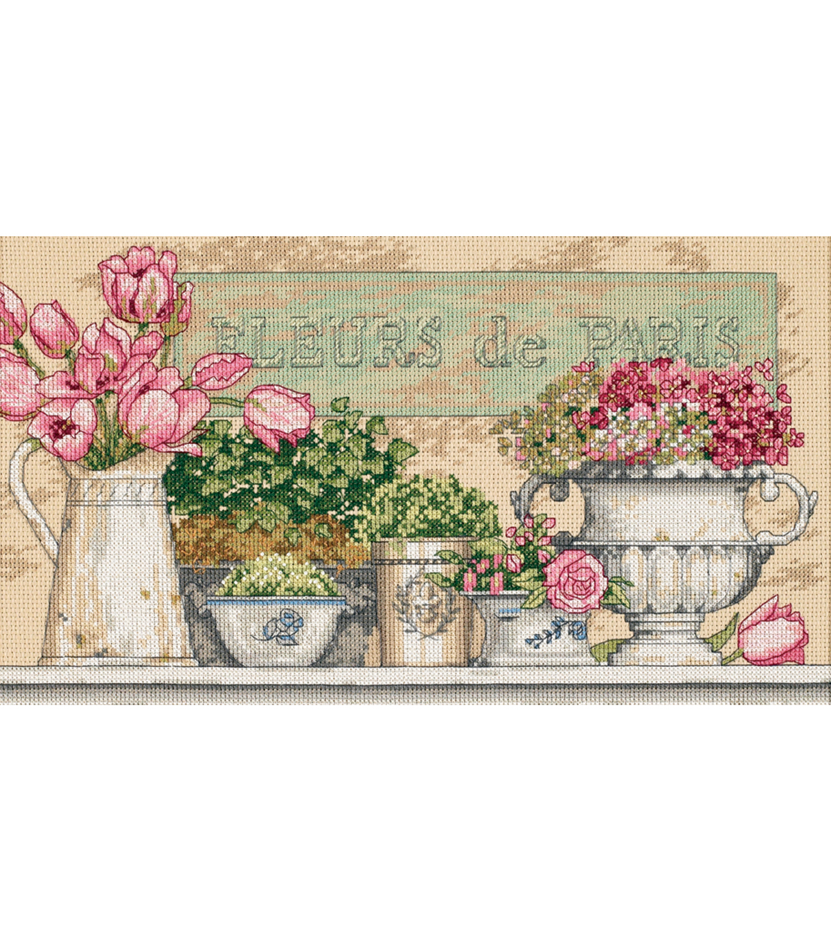 Flowers Of Paris Counted Cross Stitch Kit-14\u0022X8\u0022 14 Count