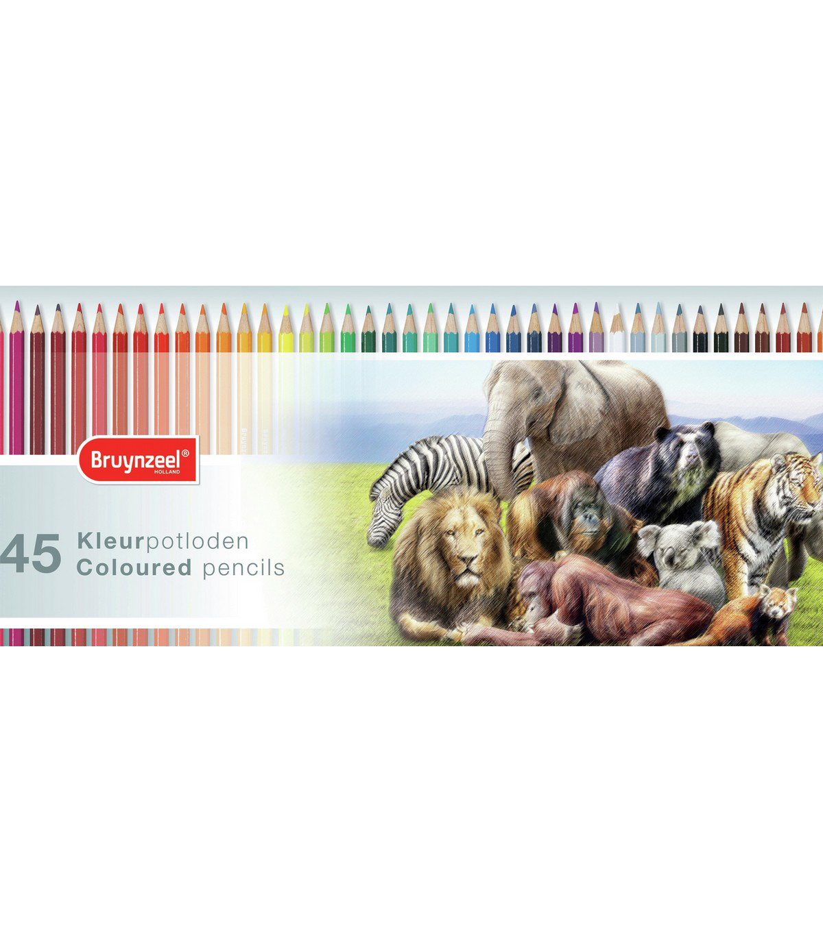 Bruynzeel 45 pk Coloured Pencils with Tin-Wild Animals