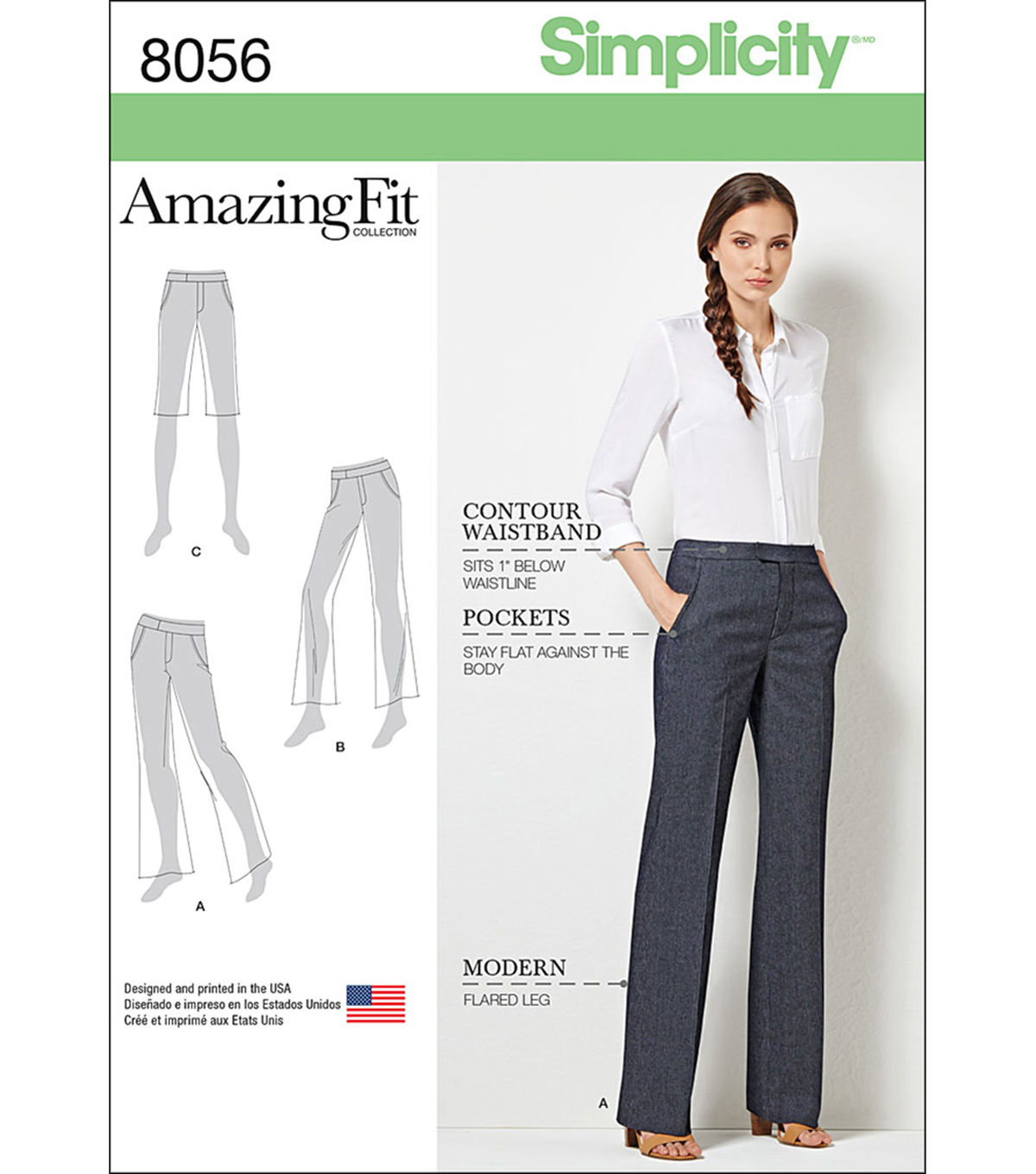 Simplicity Amazing Fit Miss/Plus Size Flared Pants Or Shorts-10-12-14-16-18