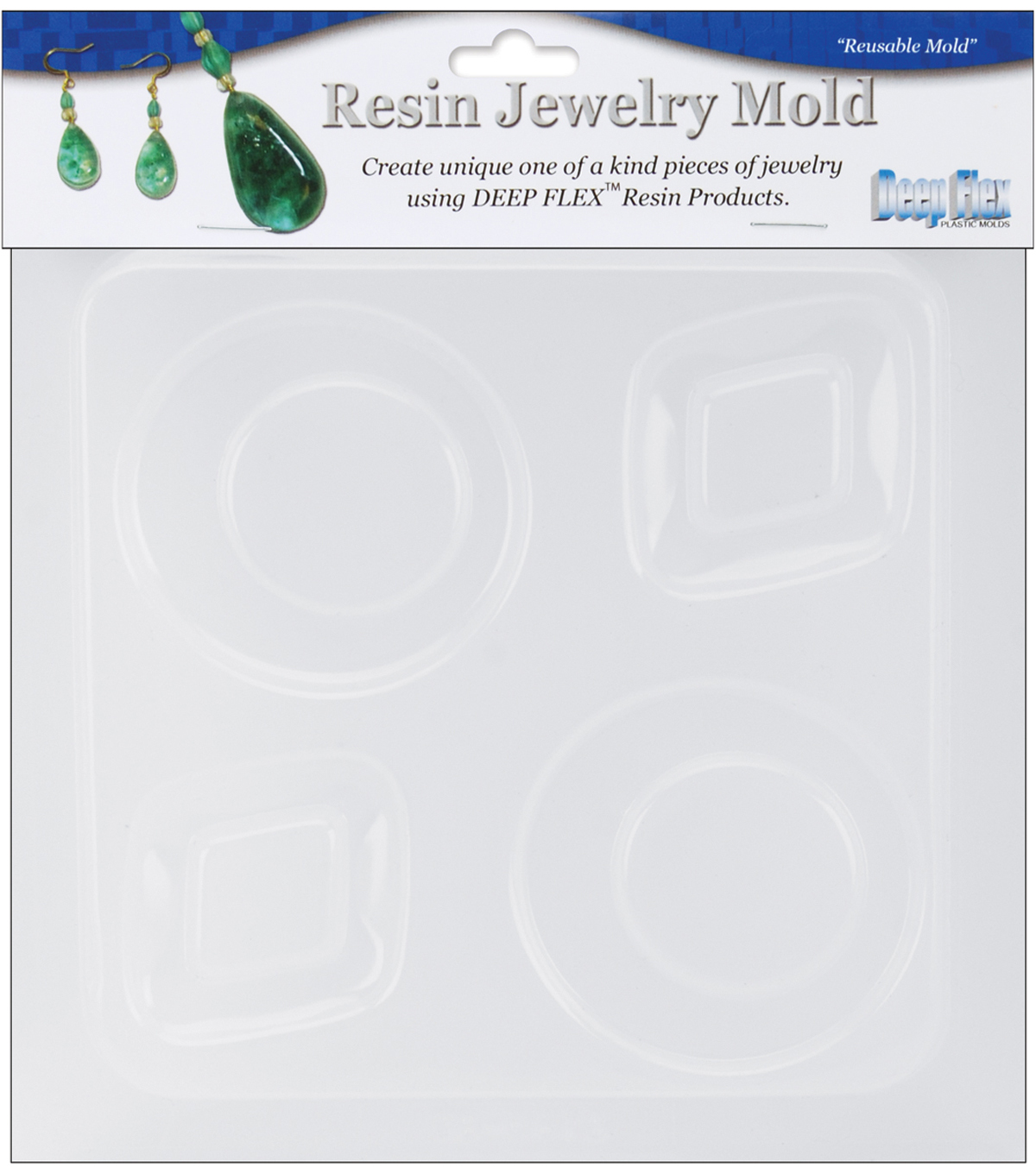 Yaley Resin Jewelry Reusable Plastic Mold 6.25\u0022x7\u0022-Diamond&Round