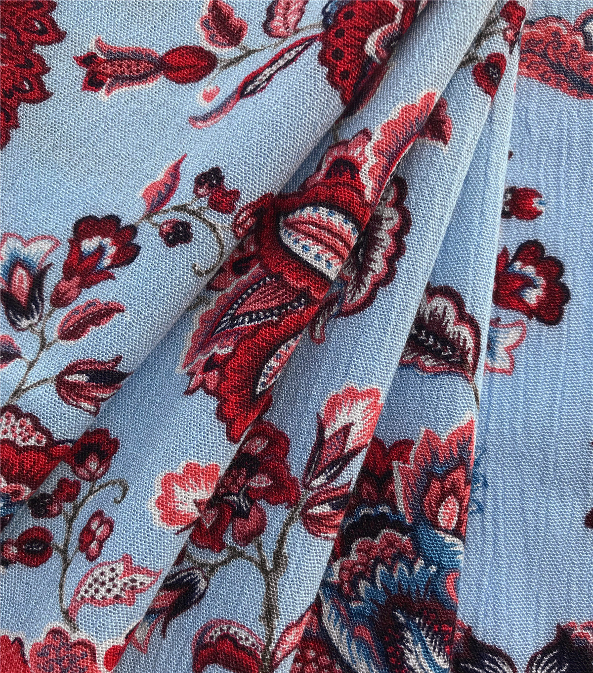 Americana Summer Crinkle Rayon Fabric-Blue Red Folk Floral