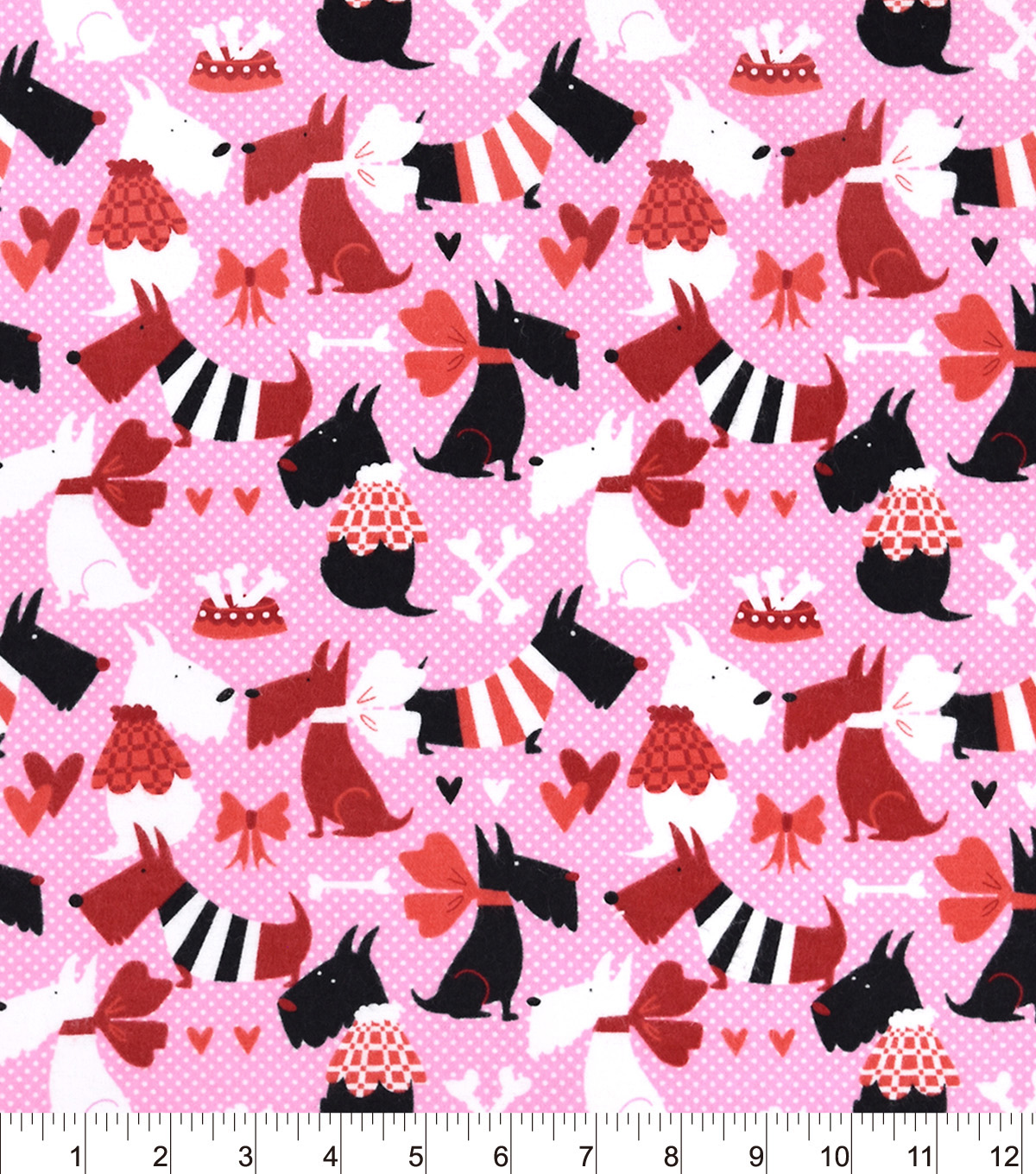 Snuggle Flannel Fabric -Pups Bones And Hearts