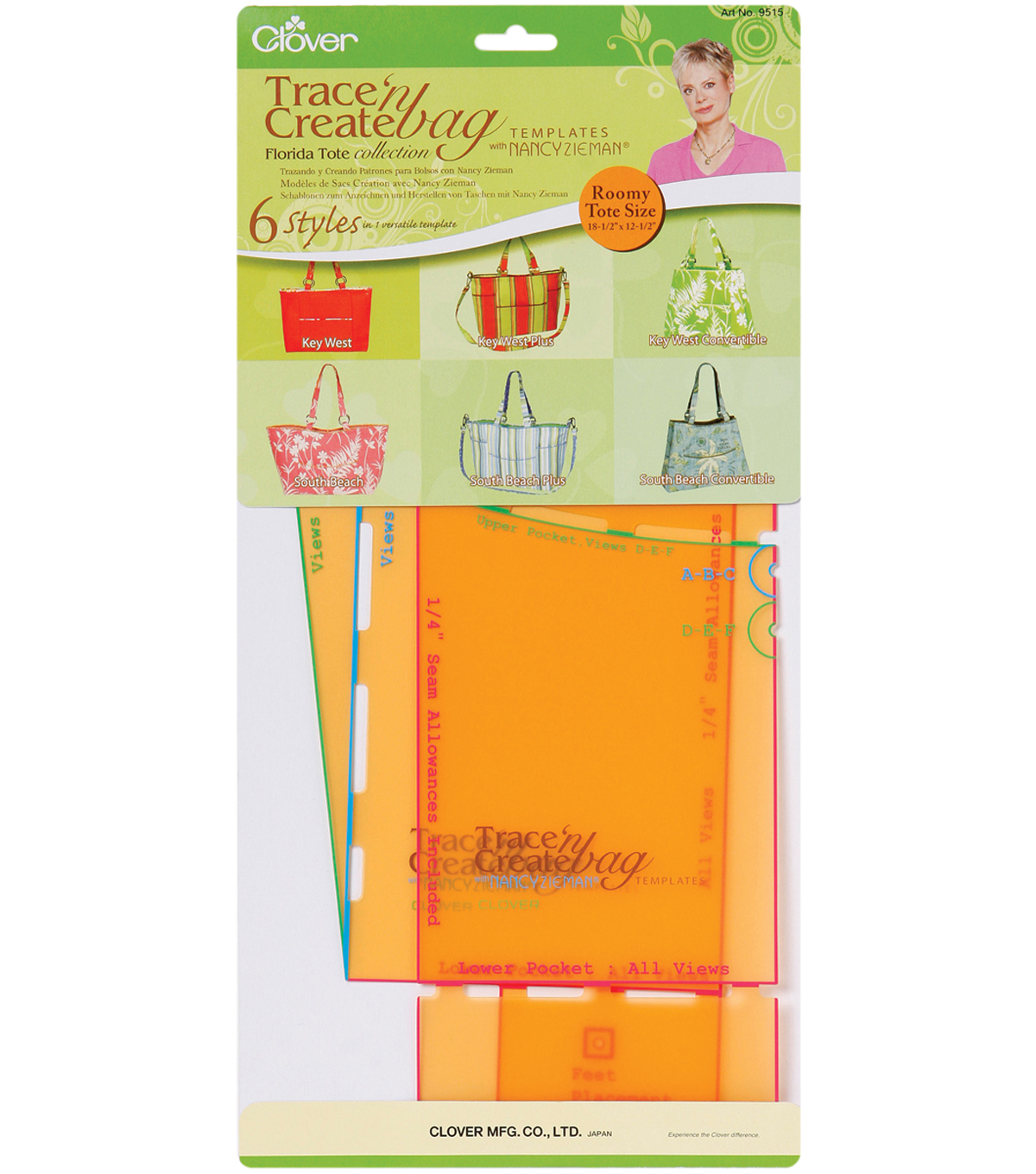 Clover Trace \'n Create Bag Templates With Nancy Zieman-Florida Bag ...