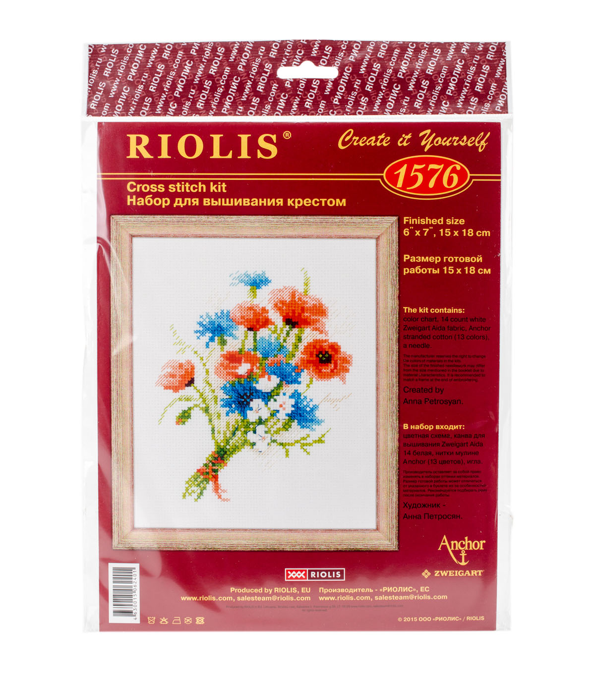 RIOLIS 6\u0027\u0027x7\u0027\u0027 Counted Cross Stitch Kit-Bouquet with Cornflowers