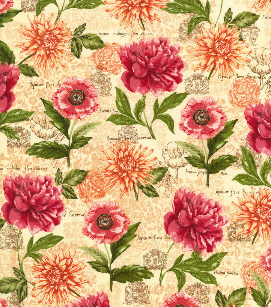 Novelty Cotton Fabric-Botanical Floral