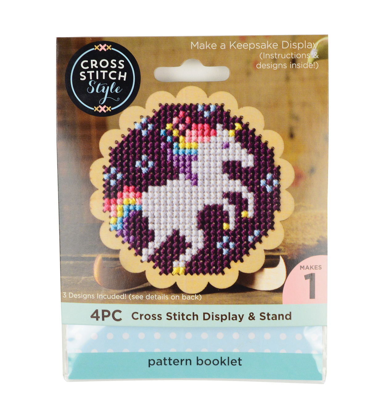 Cross Stitch Style Wood Scalloped Circle Cross Stitch Display & Stand