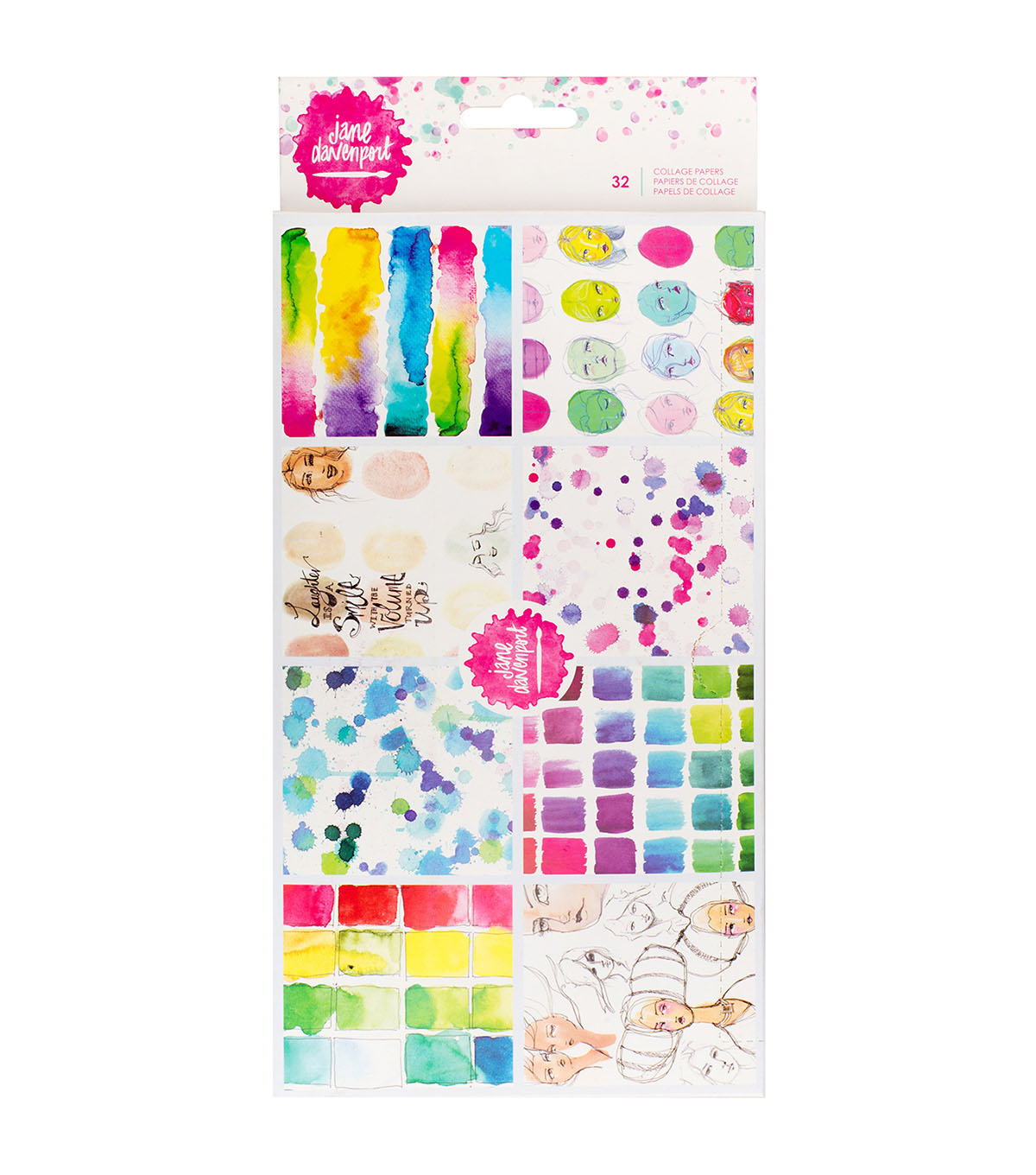 Jane Davenport 32-sheets Mixed Media 2-Ply Collage Papers-8 Designs
