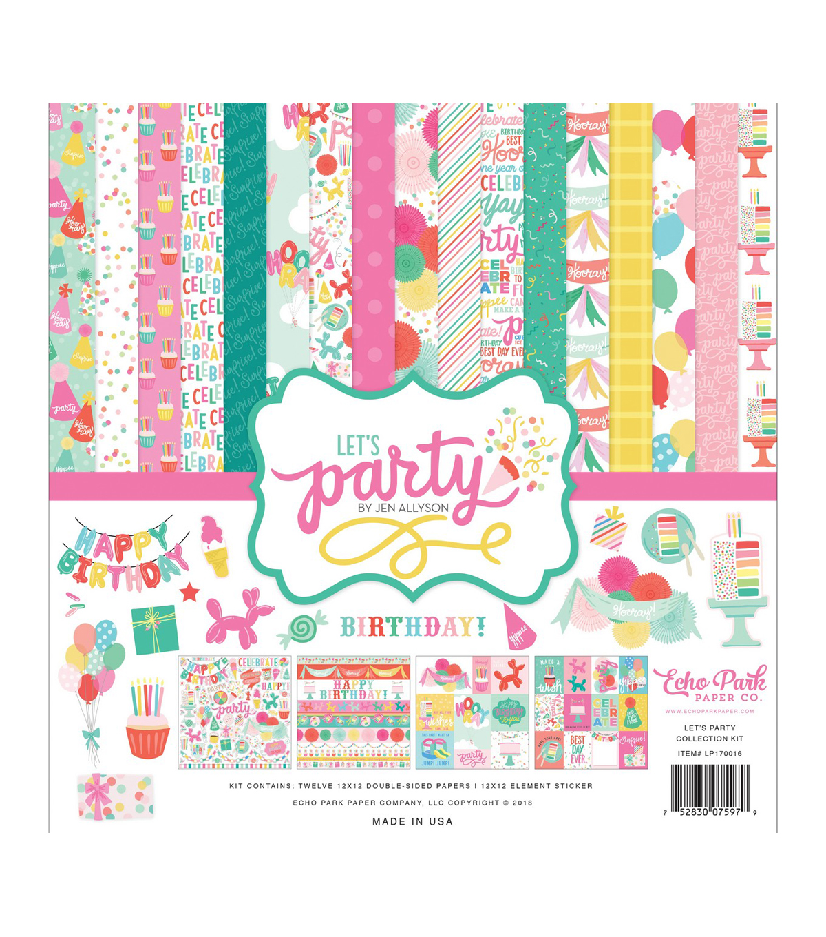 Echo Park Paper Co. Let\u0027s Party Collection Kit