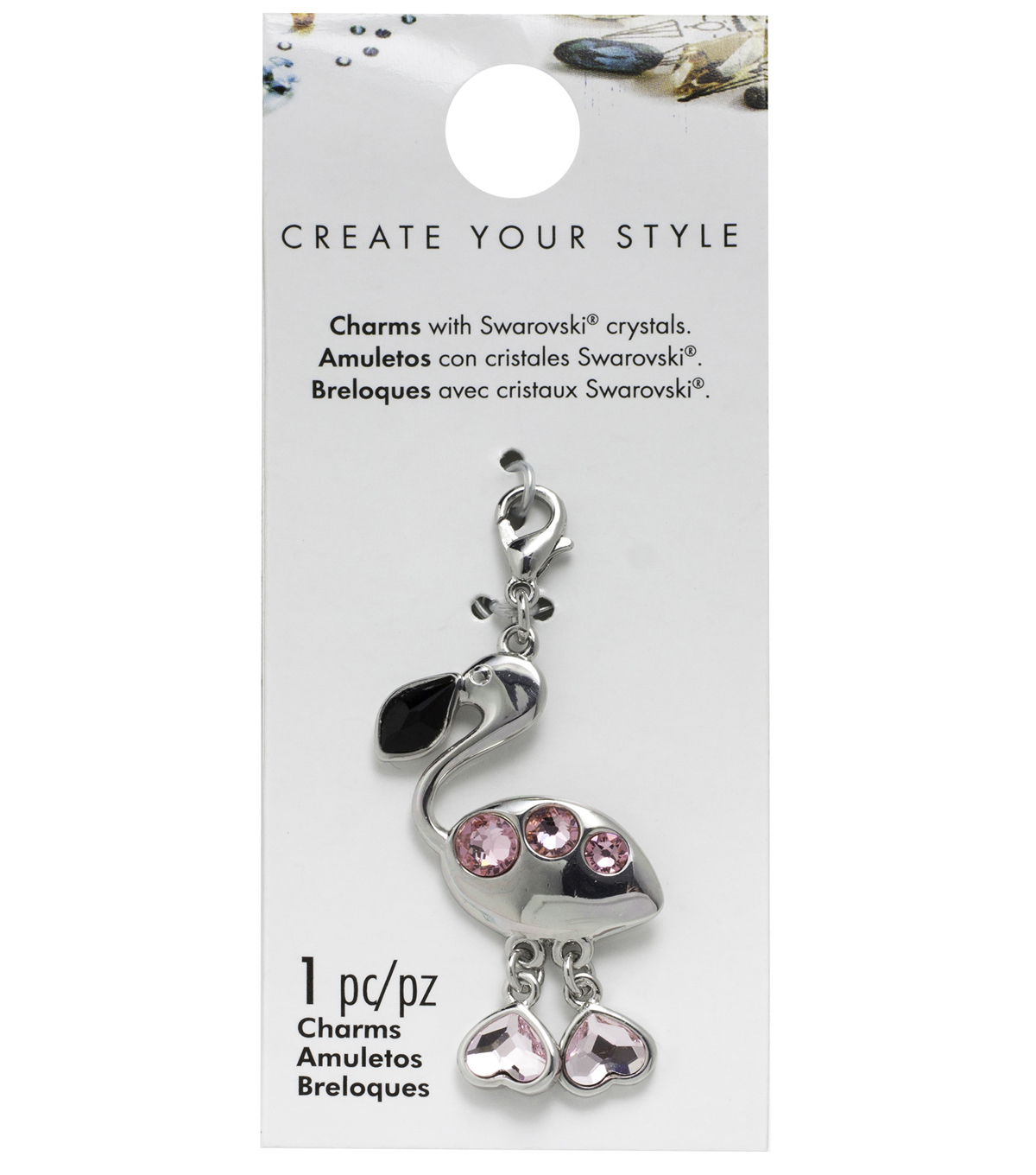 Swarovski Create Your Style Flamingo Charm-Pink & Black Crystals