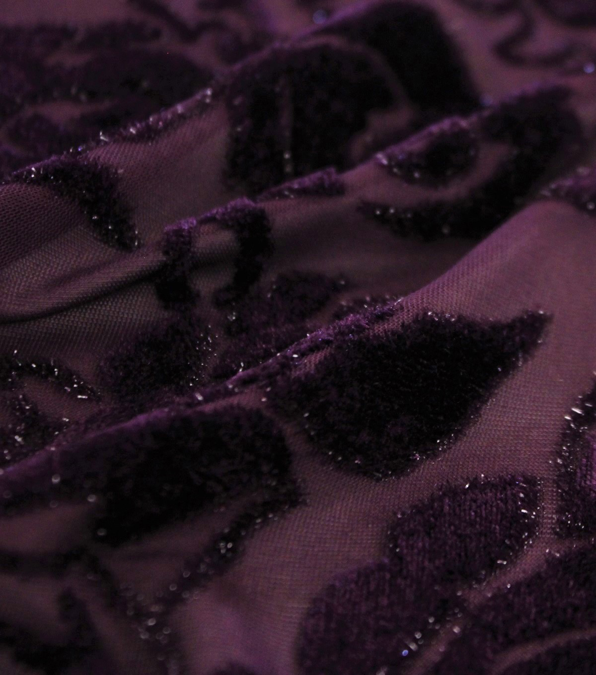 Velvet Jacquard Fabric-Blackberry Wine Roses