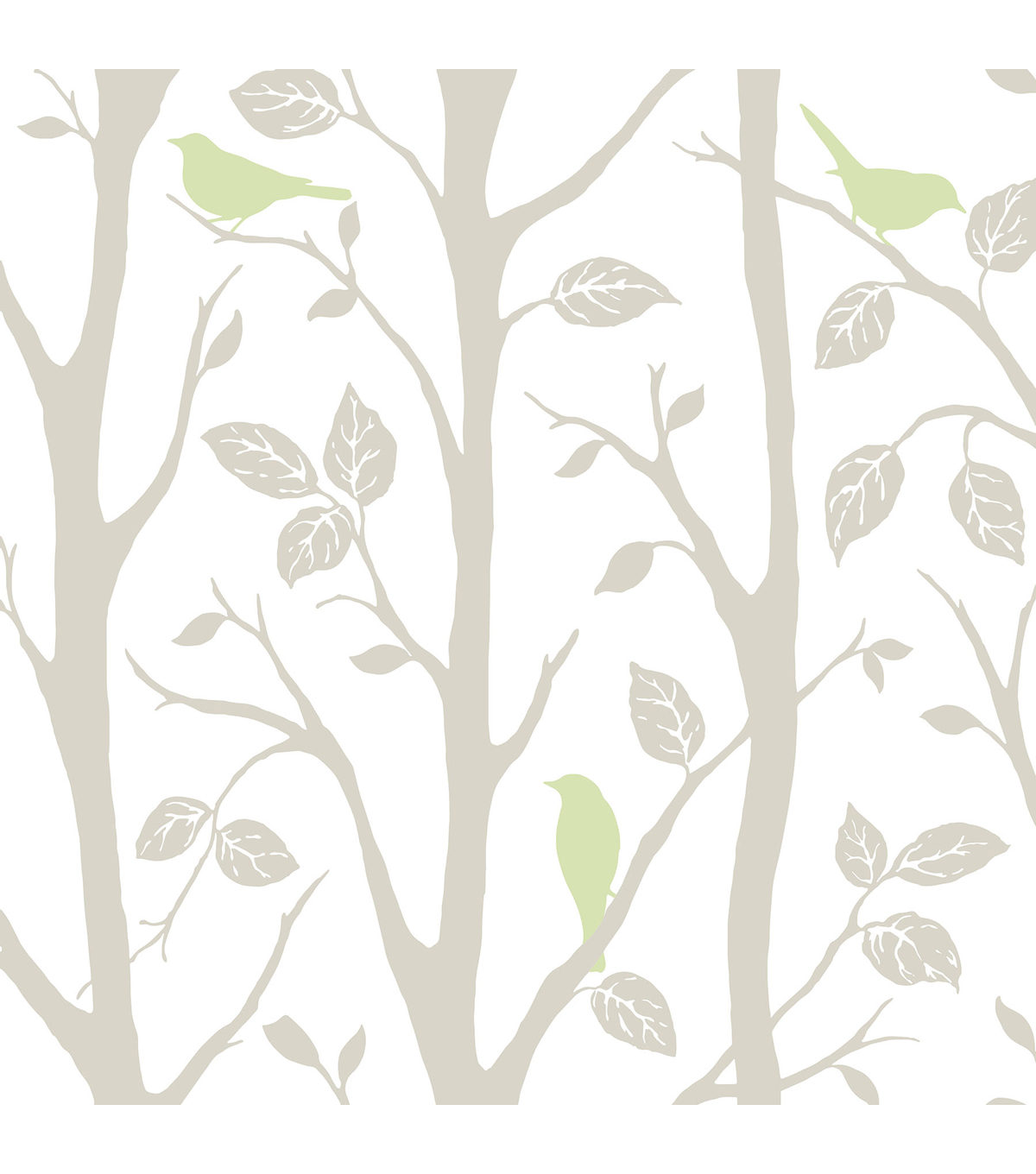 WallPops NuWallpaper Gray and Green Sitting In A Tree Peel And Stick Wallpaper
