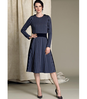 Vogue Pattern V1512 Misses\u0027 Popover Midi Dress-Size 14-16-18-20-22