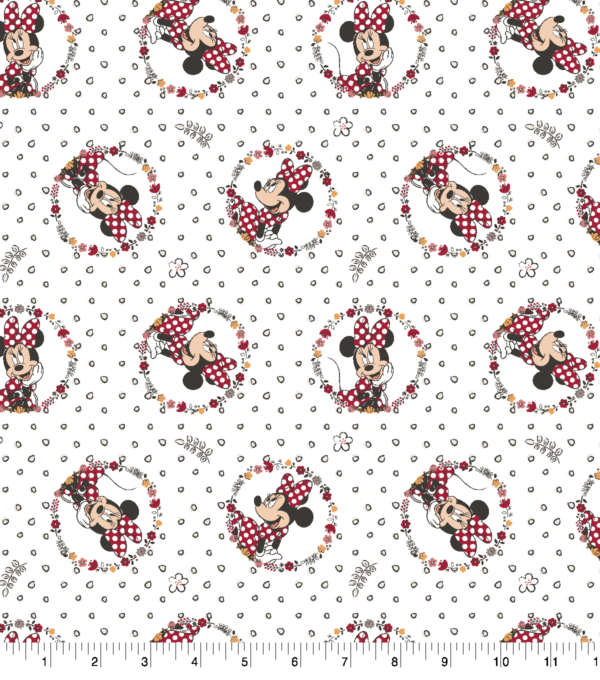 Disney Cotton Fabric-Minnie Floral Badge