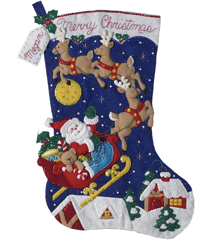 Bucilla Christmas 28\'\' Jumbo Stocking Felt Applique Kit-Christmas ...