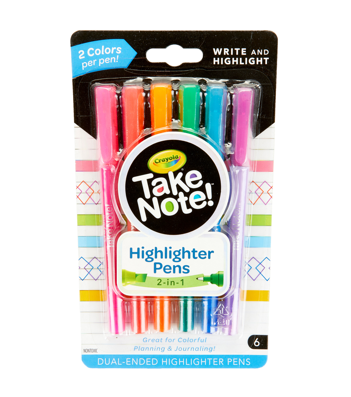 Crayola Take Note! Pen Highlighters-Double Ended Highlighters 6ct