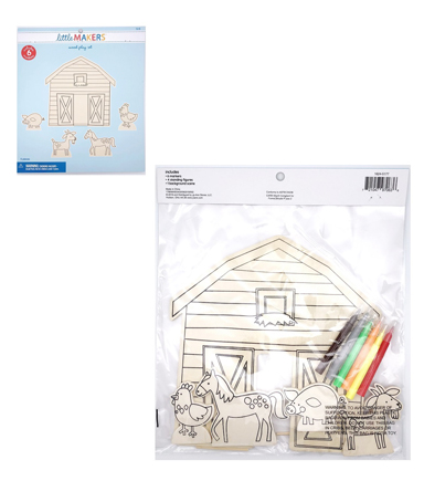 Little Makers Wood Coloring Kit-Barnyard