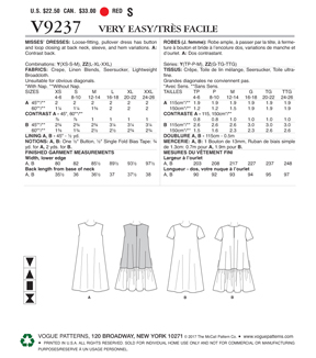 Vogue Pattern V9237 Misses\u0027 A-Line, Back-Ruffle Dresses-Size 4-14