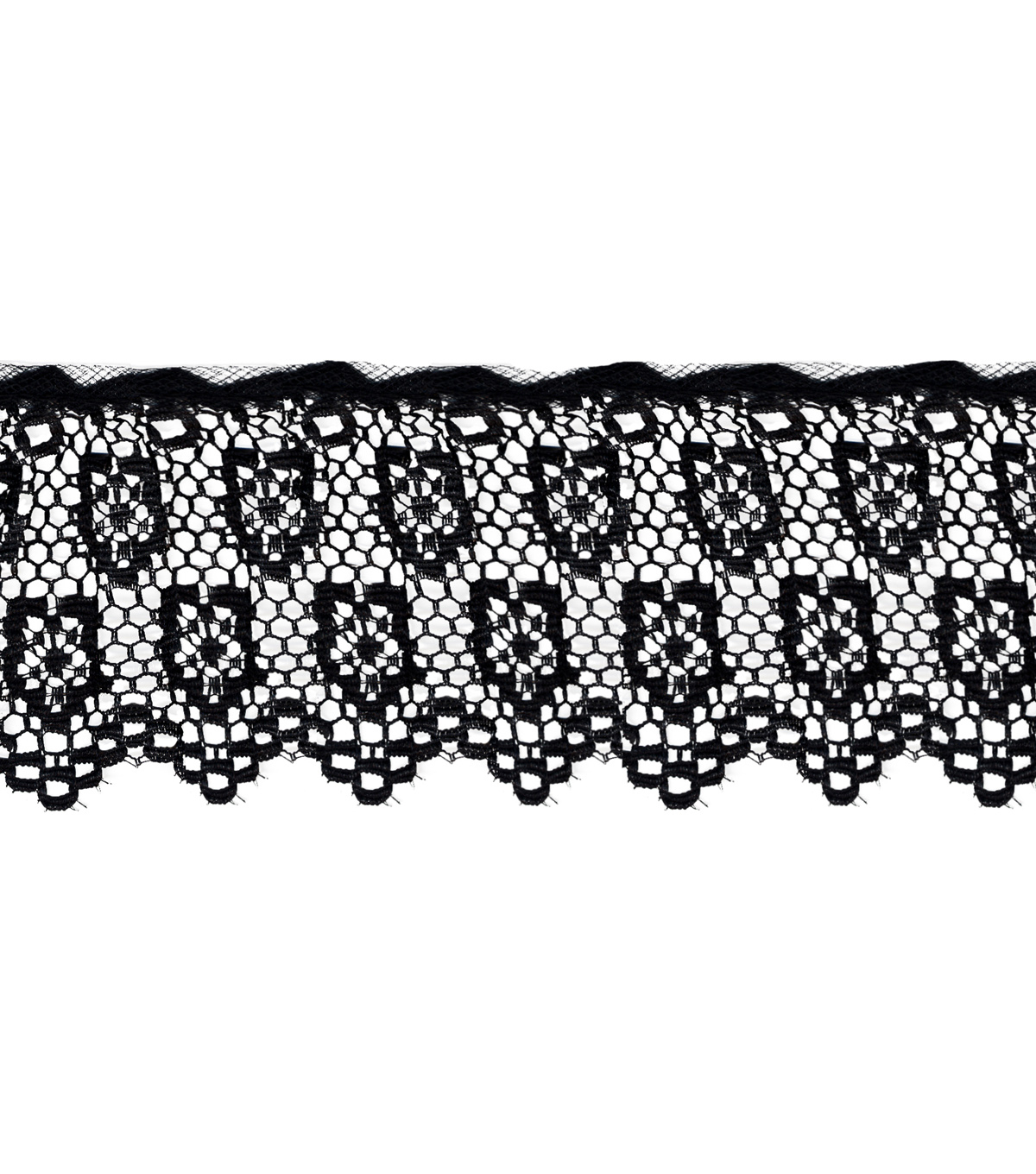 Wrights Trims-Black Double Daisy Lace