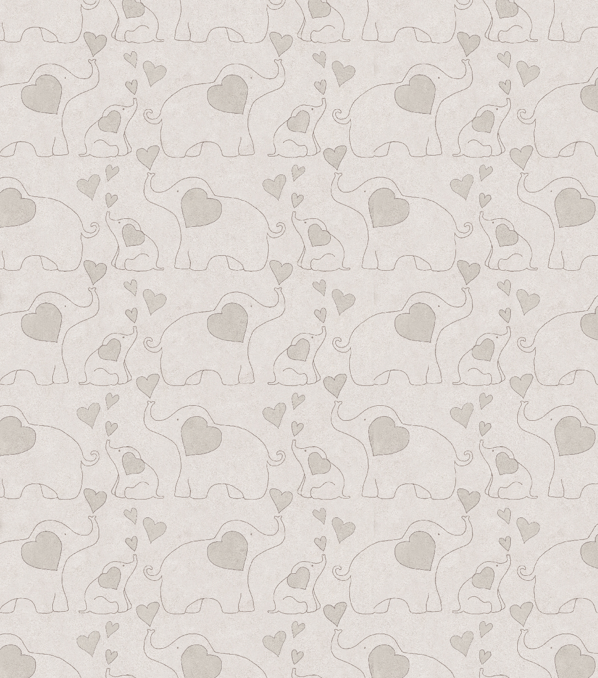 Nursery Cotton Fabric-Elephants Gray