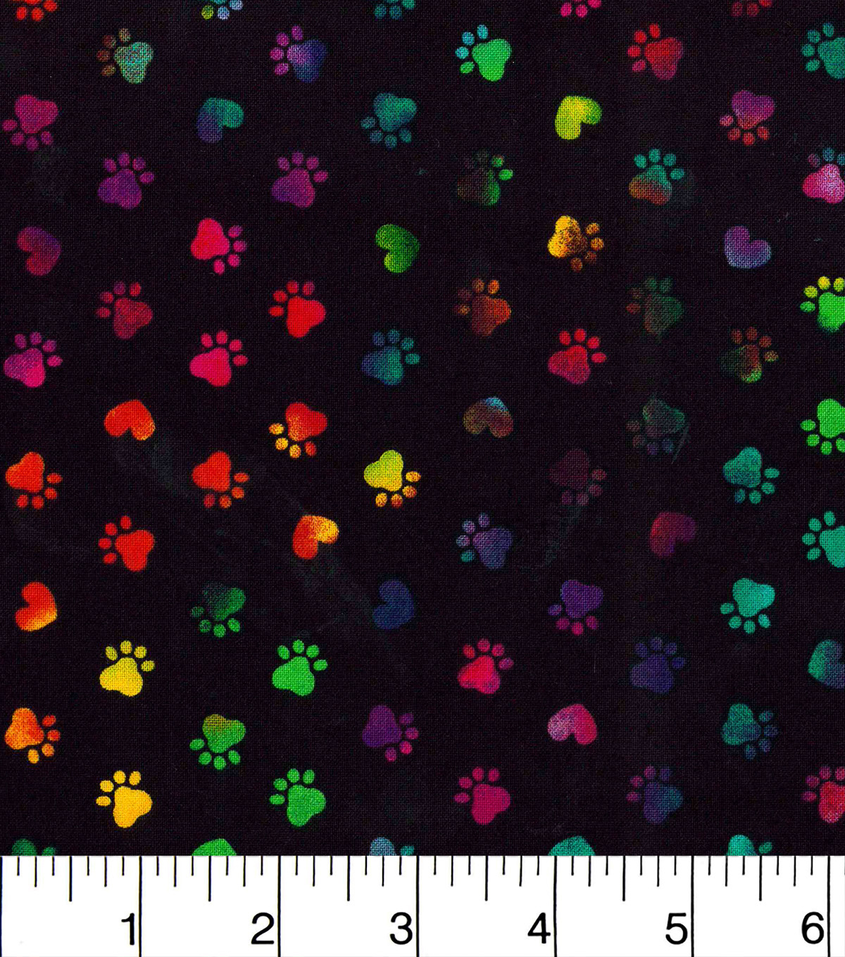 Novelty Cotton Fabric -Tie Dye Paws Black