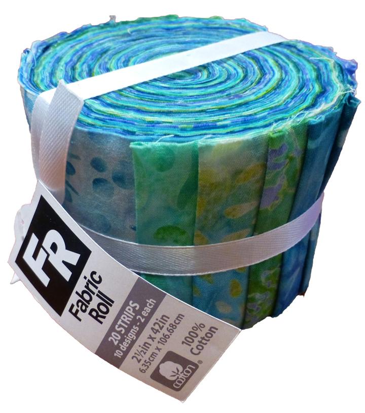 Jelly Roll Cotton Fabric Pack 2.5''x42''-Teal Batik | JOANN