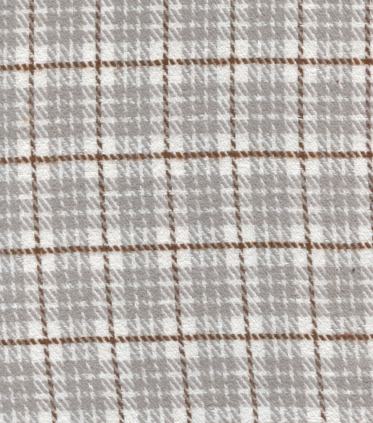 Plaid Brush Cotton-Cream Brown Gray