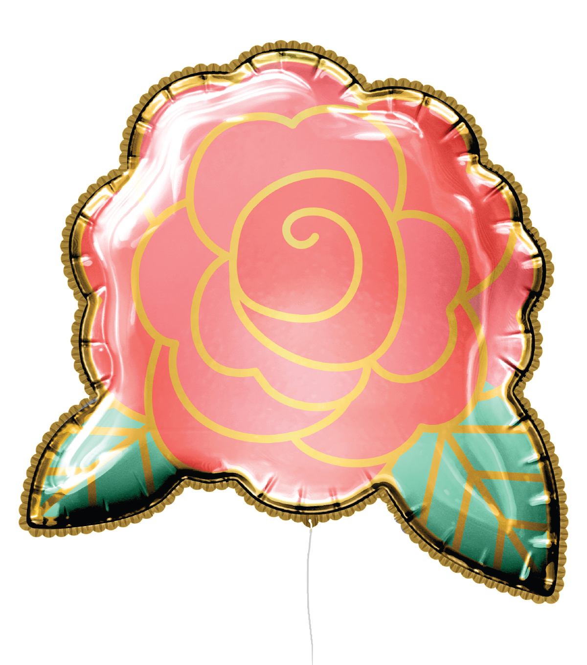 Rose Mylar Balloon with Ribbon