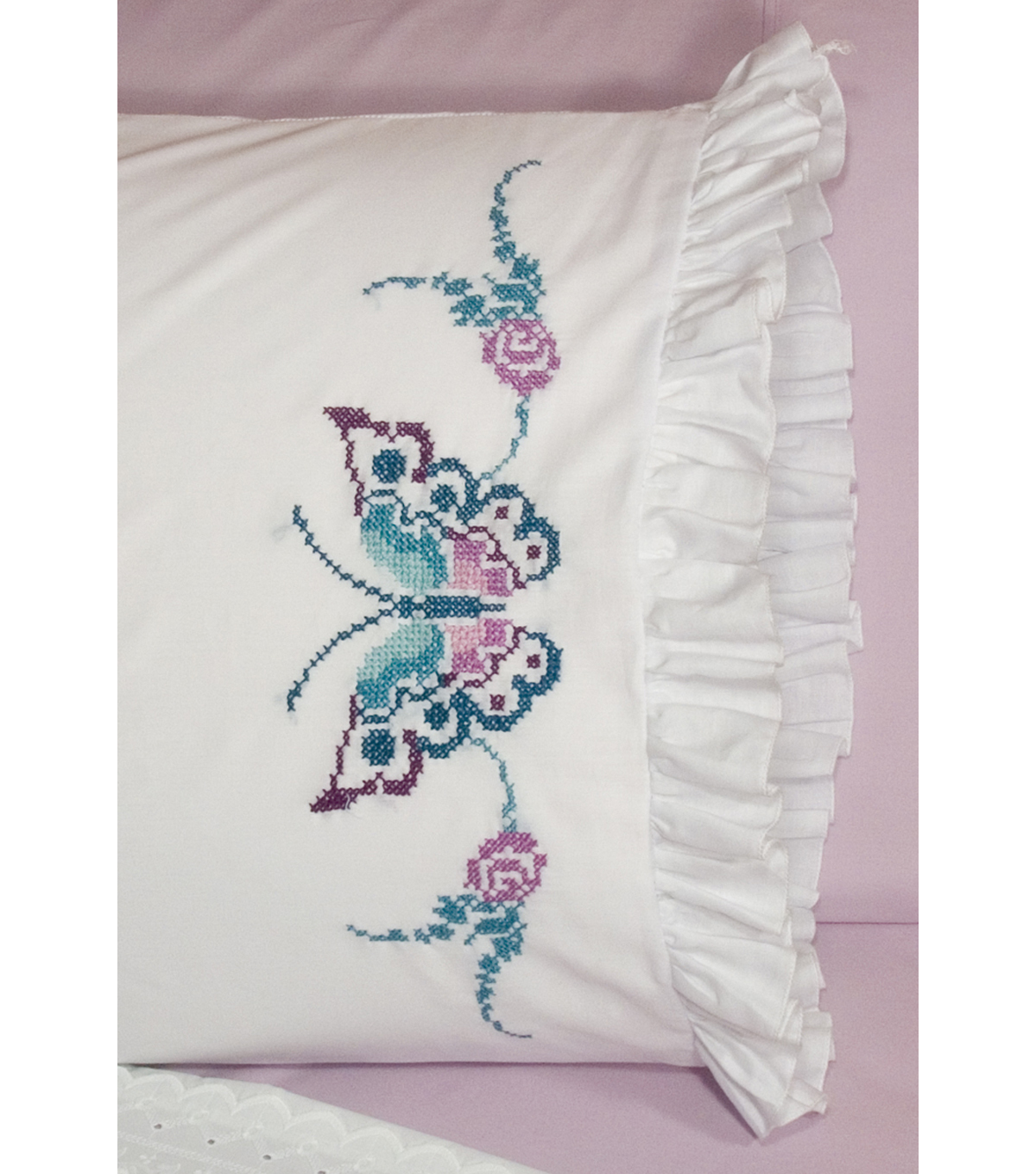 Fairway Stamped Lace Edge Pillowcase Large Butterfly
