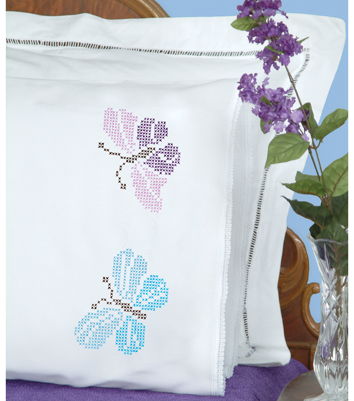 Jack Dempsey Needle Art 2 pk Stamped Lace Edge Pillowcases-XX Butterfly