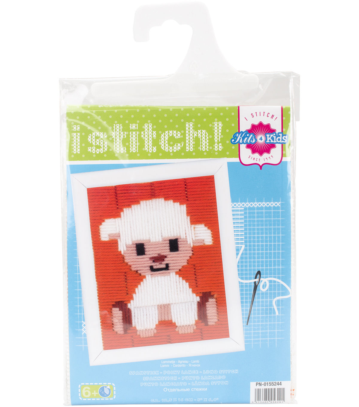 Vervaco iStitch Kits 4 Kids 5\u0027\u0027x6.4\u0027\u0027 Longstitch Kit-Lamb