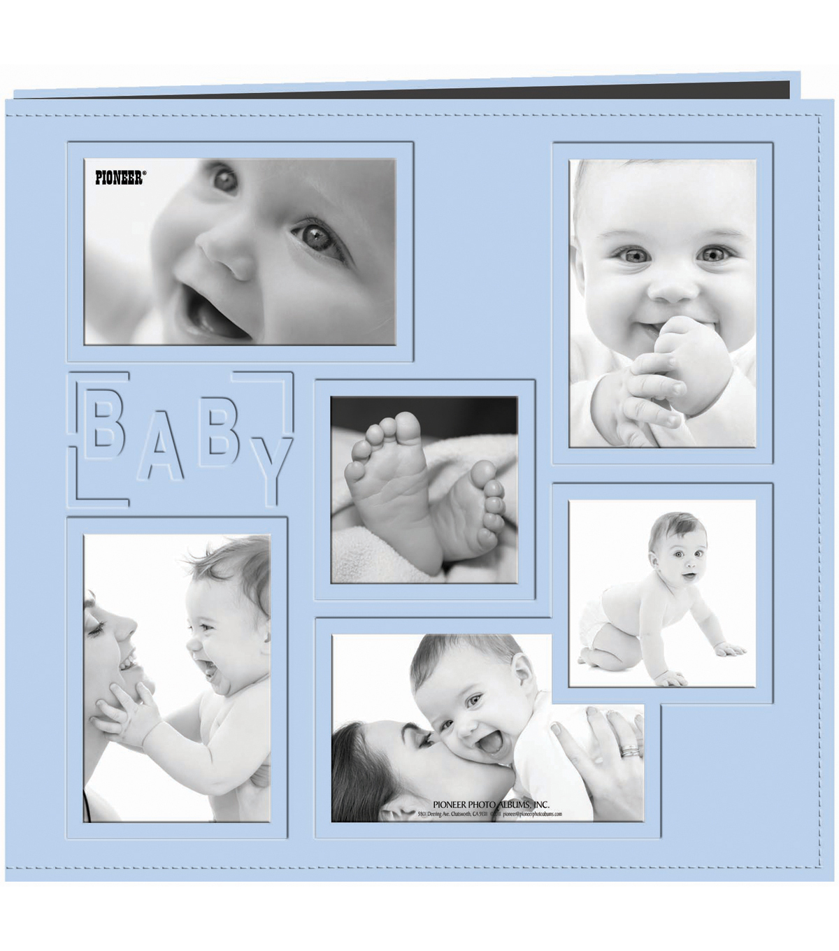 Collage Frame Sewn Embossed Cover Postbound Album 12\u0022X12\u0022-Blue/Baby