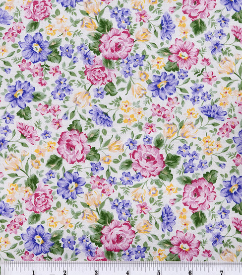 Keepsake Calico Cotton Fabric -French Bouquet Pink Lavender