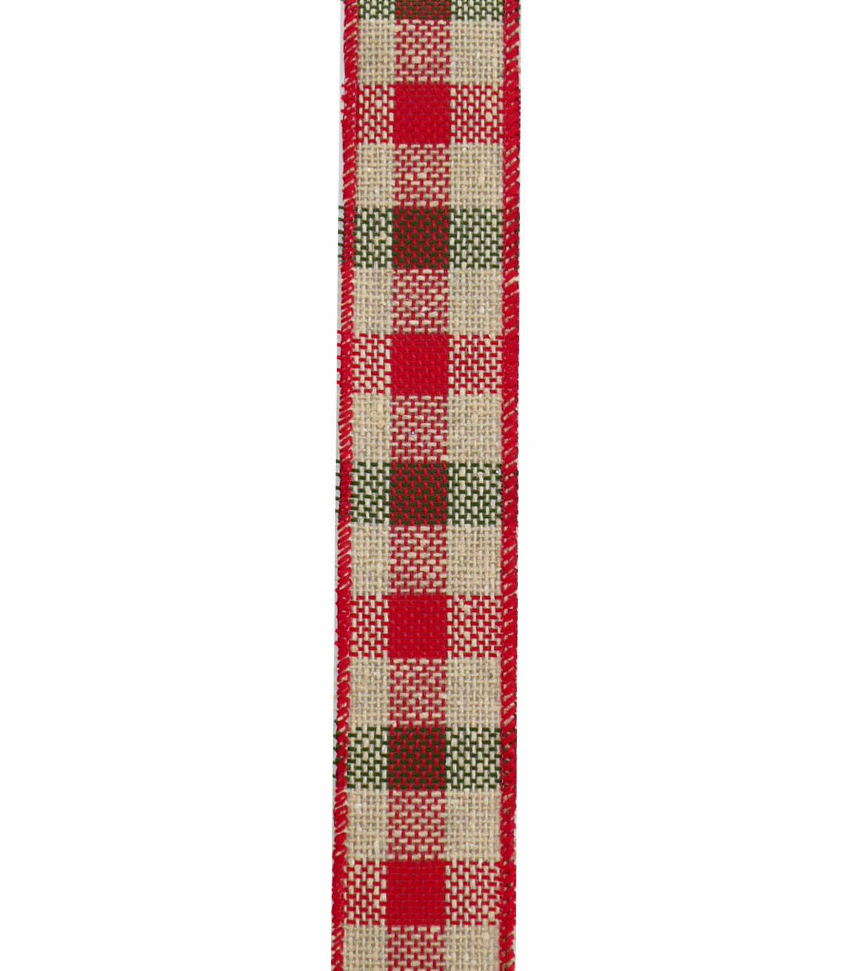 Maker\u0027s Holiday Ribbon 1.5\u0027\u0027x20\u0027-Red, Green & Natural Textured Plaid